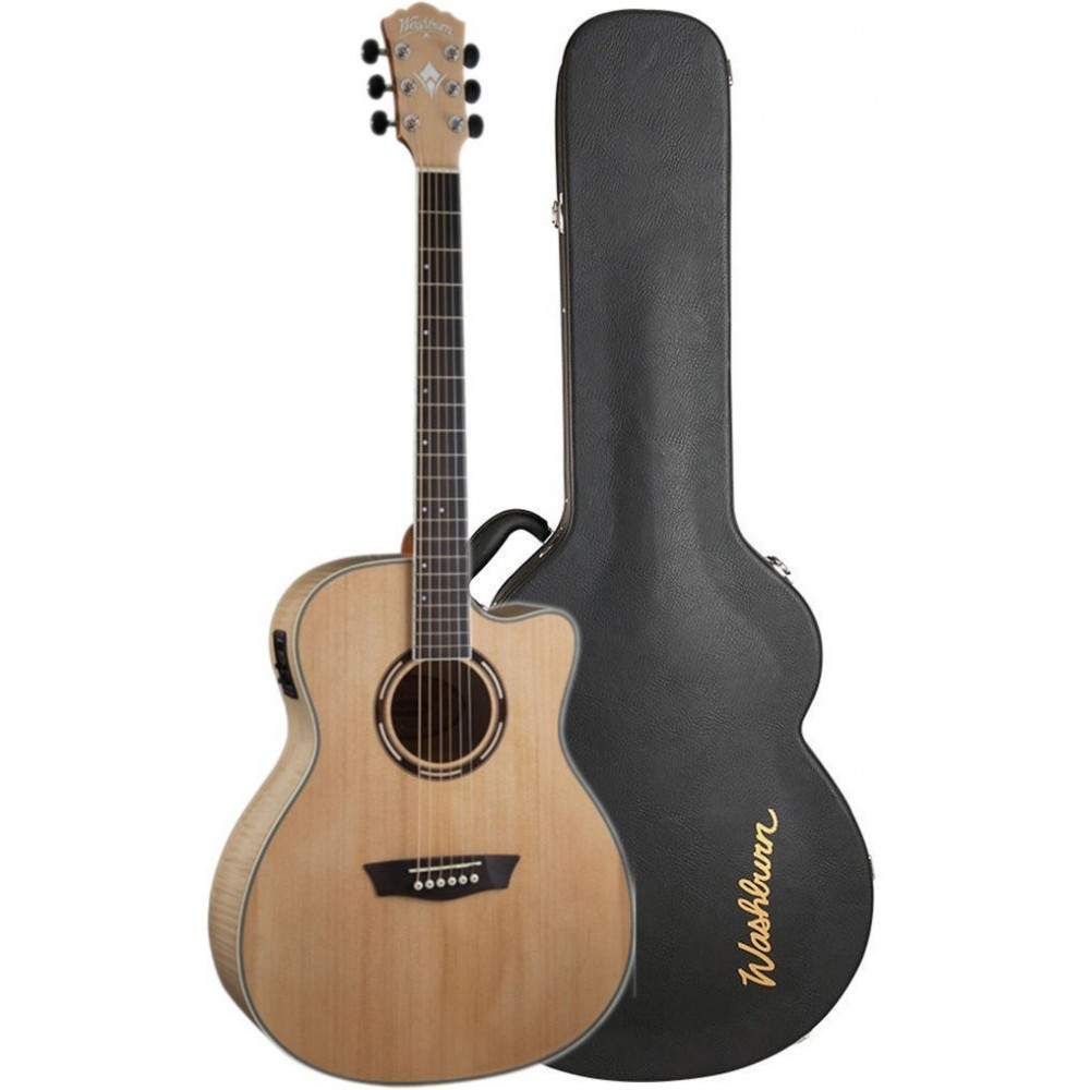 washburn ag40cek grand auditorium acoustic electric cutaway solid spruce top with flame maple. Black Bedroom Furniture Sets. Home Design Ideas