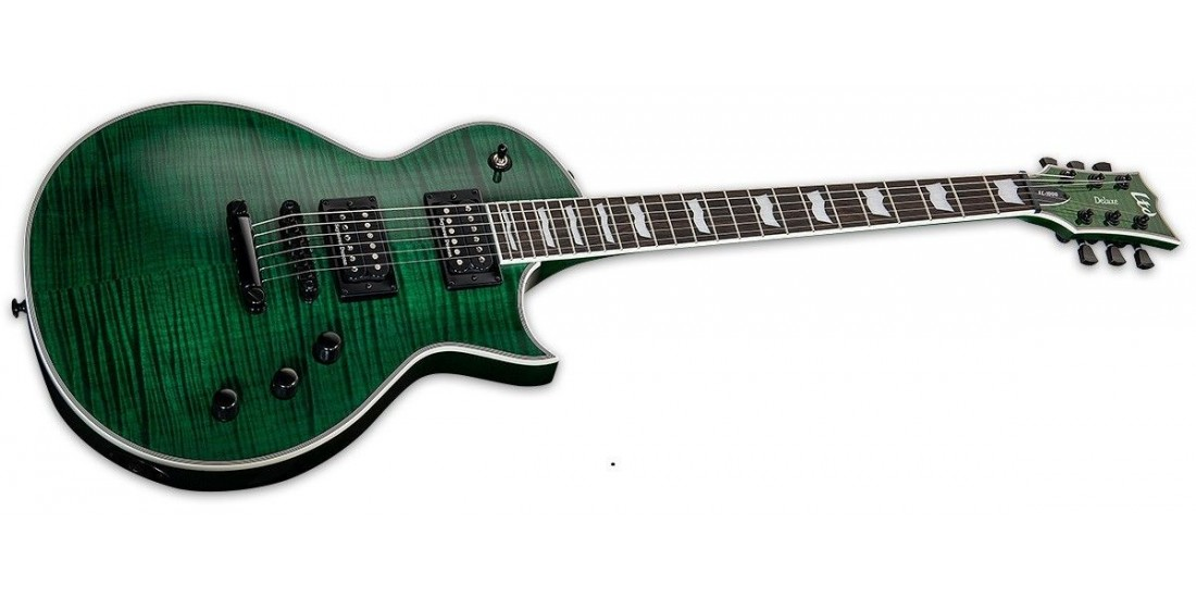 Esp Ltd EC1000 Flame Top See Thru Green Set Neck Electric Guitar with Seymour Duncan Pickups