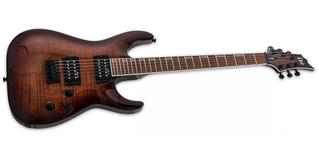 ESP Ltd H200FM Flamed Maple Top Set Neck Roasted Jatoba Fingerboard Electric Guitar Dark Brown Sunburst