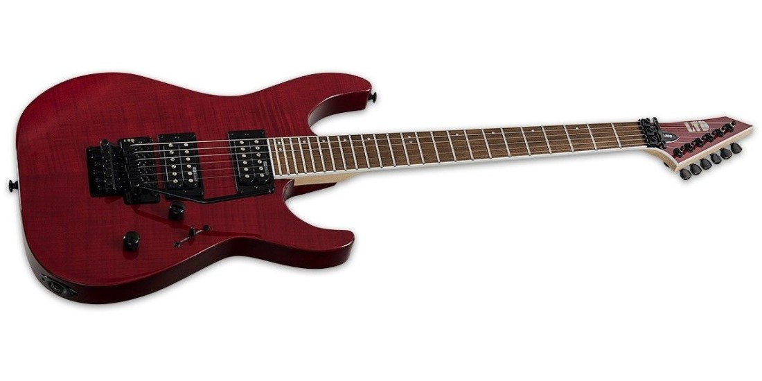 ESP Ltd M200 Flame Maple Bolt On Neck Roasted Jatoba Fingerboard Electric Guitar See Thru Red