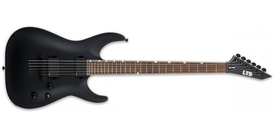 ESP Ltd MH400B Neck Thru Mahogany Body Maple Cap Pau Ferro Fingerboard Baritone Electric Guitar Black Satin