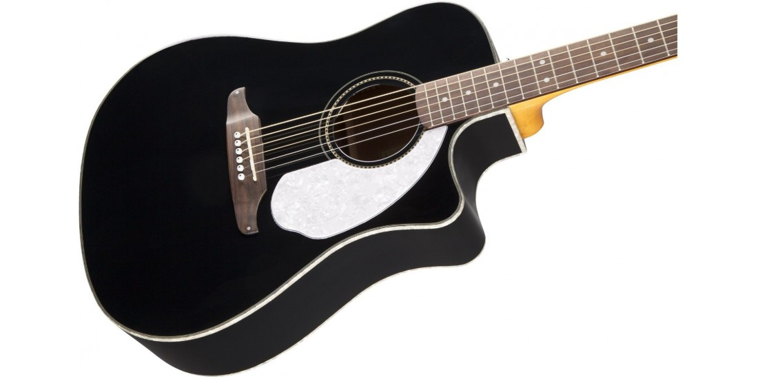 Fender  Sonoran  California  Series  Solid  Top  Acoustic  Electric  Guitar  Black  with  Matching  Headstock