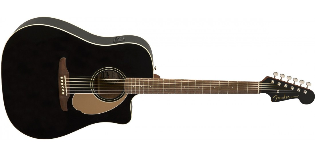 Fender Redondo Player Electric Acoustic Jetty Black Guitar with Walnut Fretboard