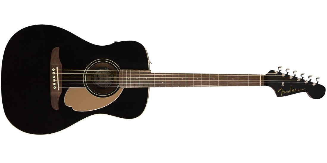 Fender Malibu Player Electric Acoustic Guitar in Jetty Black with Walnut Fretboard
