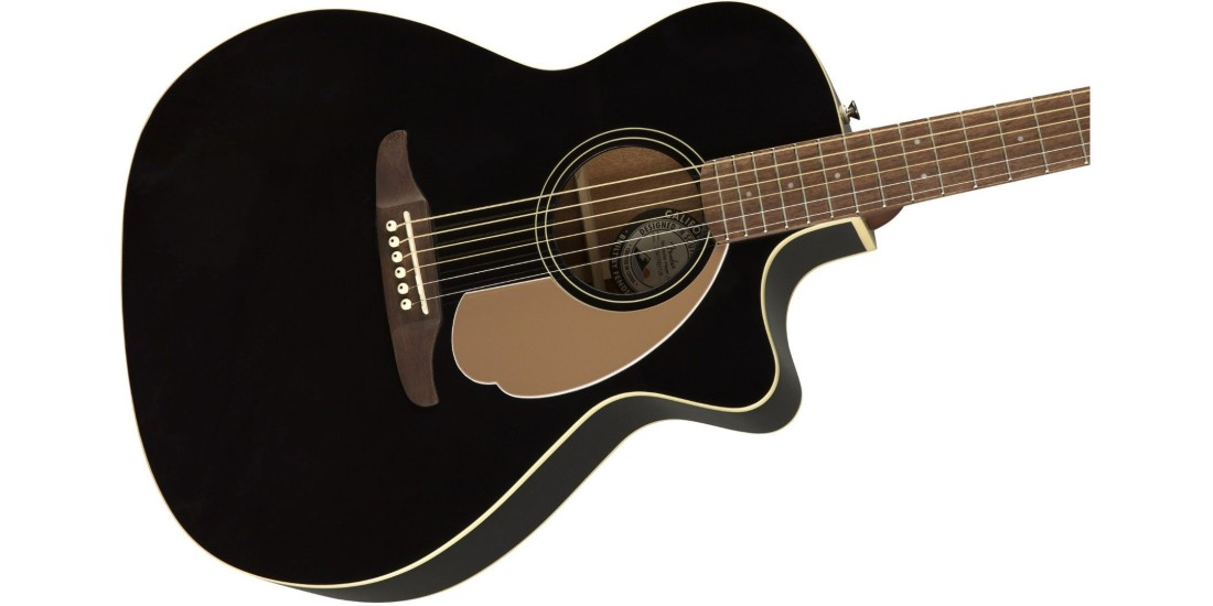 Fender Newporter Player in Electric Acoustic Guitar in Jetty Black with Walnut Fretboard