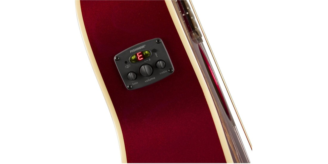 Fender Newporter Player in Electric Acoustic Guitar in Candy Apple Red with Walnut Fretboard
