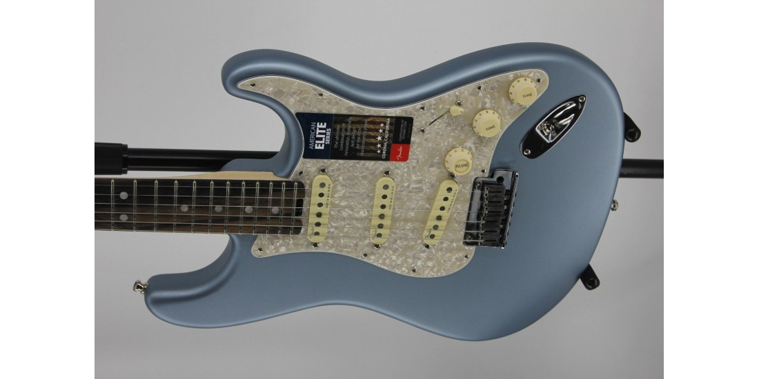 Fender American Elite Stratocaster Ebony FB Satin Ice Blue Serial #US19065705 8.05lbs