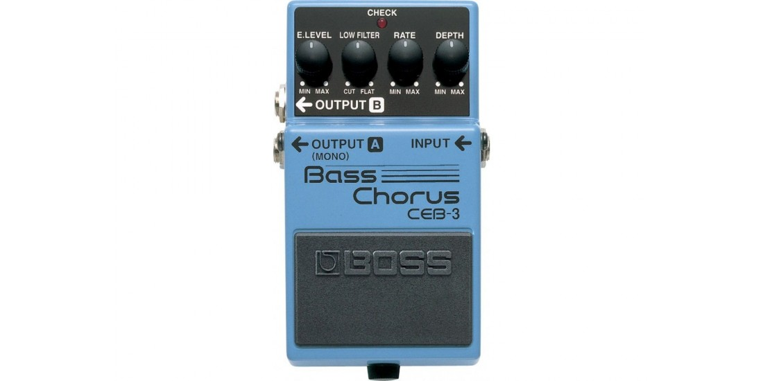 Boss CEB-3 Bass Chorus Pedal Bundle with Three EXO CG10 Guitar Cables
