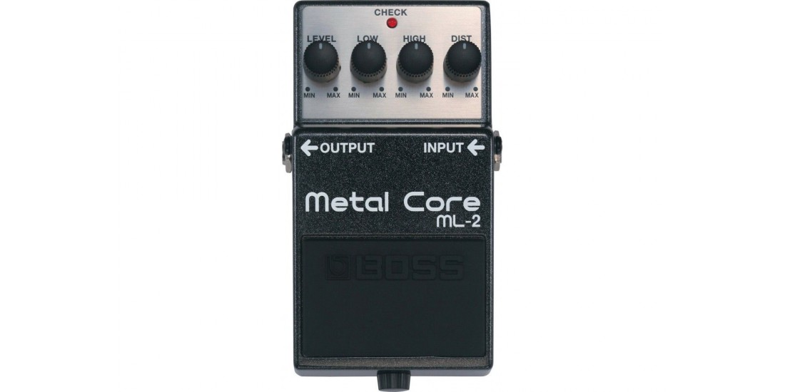 Boss ML2 Metal Core Guitar Distortion Pedal with Three EXO CG10 Guitar Cables