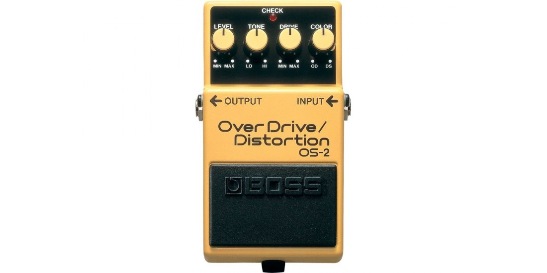 Boss OS2 Overdrive and Distortion Guitar Pedal with Three EXO CG10 Guitar Cables