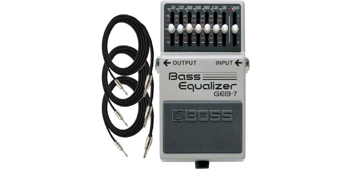Boss GEB-7 EQ 7-Band Equalizer for Electric Bass with three EXO CG10 10 foot cables