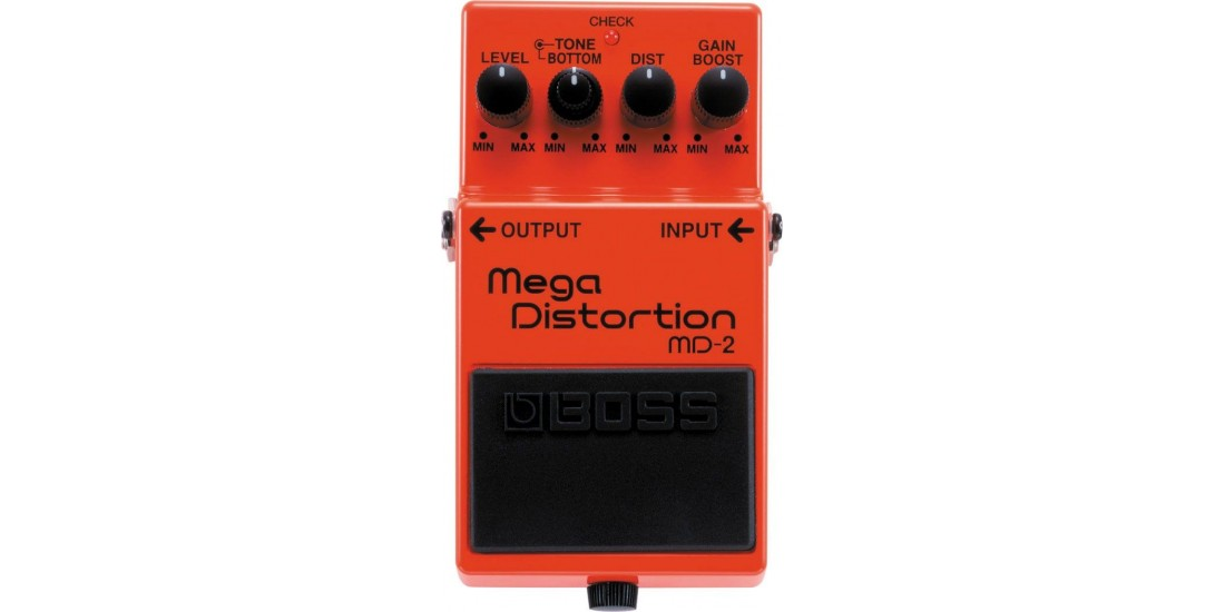 Boss MD2 Mega Distortion Guitar Pedal with Three EXO CG10 Guitar Cables
