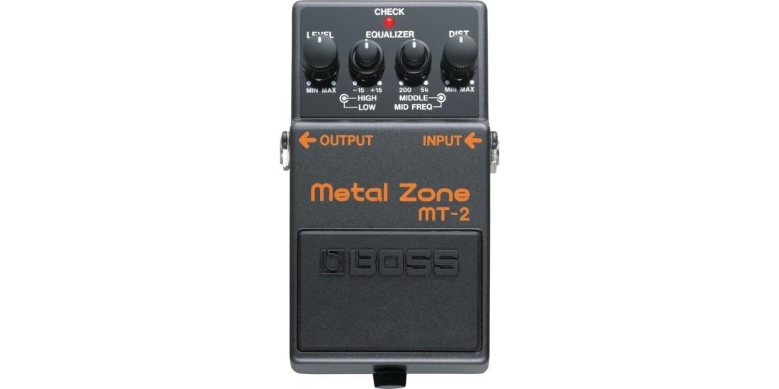 Boss MT2 Metal Zone Guitar Distortion Pedal with Three EXO CG10 Guitar Cables