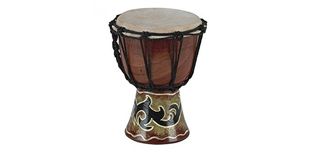 Toca SDMINI Rope Tuned 4 Inch Mini Djembe Tribal Design