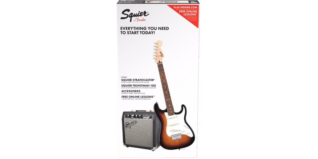 Fender Squier Short Scale Stratocaster Electric Guitar Package Brown Sunburst