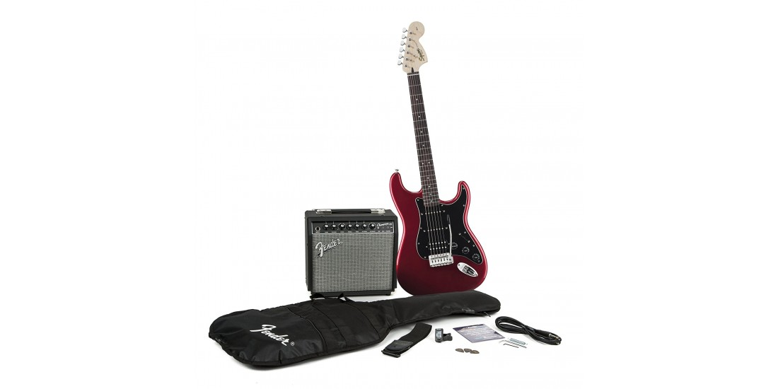 Fender  Squier  Affinity  HSS  Stratocaster  Electric  Guitar  Package  w/Champion  20  Amp  in  Candy  Apple  Red