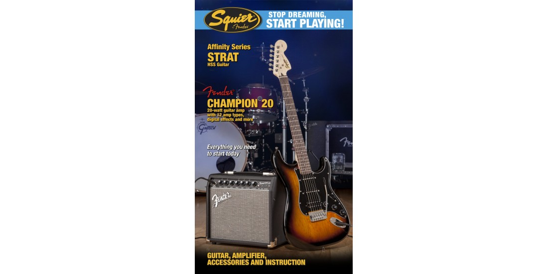 Fender Squier Affinity HSS Stratocaster Electric Guitar Package w/Champion 20 Amp -Brown Sunburst