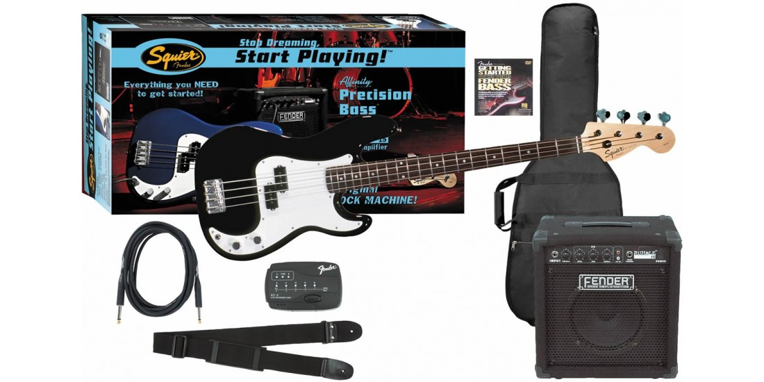 Fender Squier Affinity P Bass guitar Package with Rumble 15 Amplifier -Black