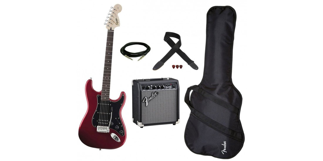 Fender Squier Affinity HSS Strat guitar Package Candy Apple Red