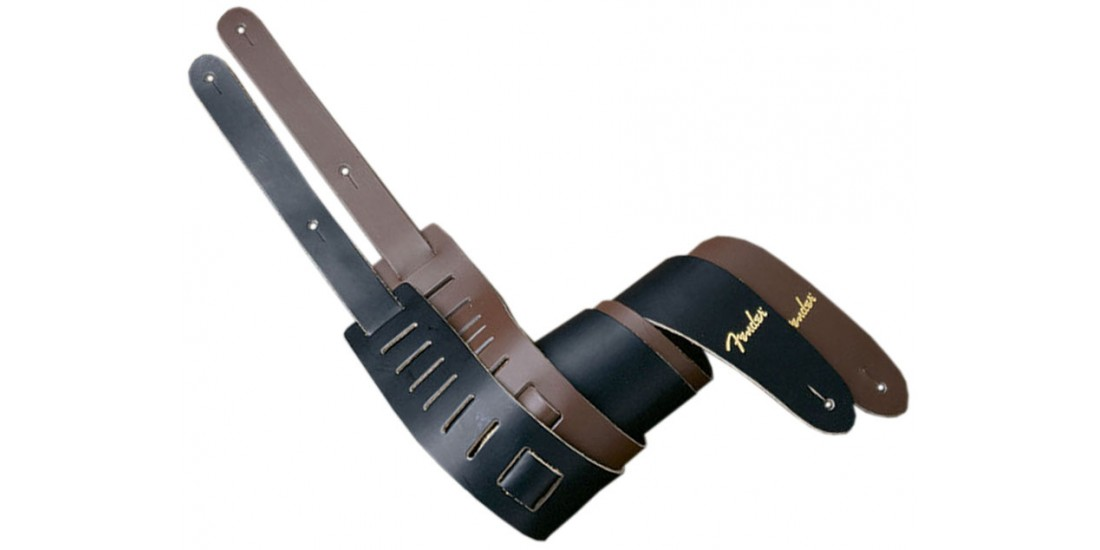 Fender Black Leather Guitar Strap with Gold Logo