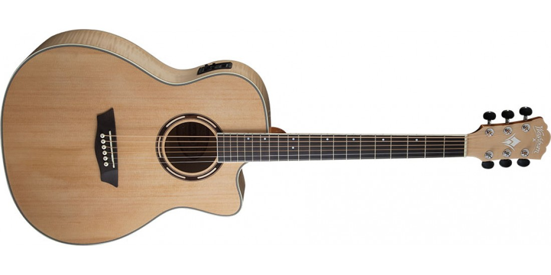 Washburn AG40CEK Grand Auditorium Acoustic Electric Cutaway Solid Spruce Top with Flame Maple Back and Sides w/case