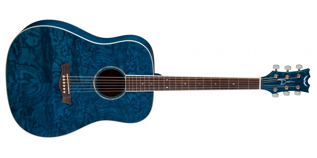 Dean AXS Dreadnought Acoustic Guitar Quilt Ash Trans Blue