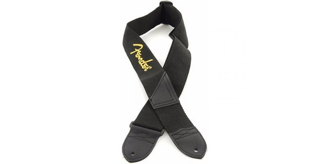 Fender  2  Inch  Poly  Black  with  Yellow  Embroidered  Logo  Guitar  Strap