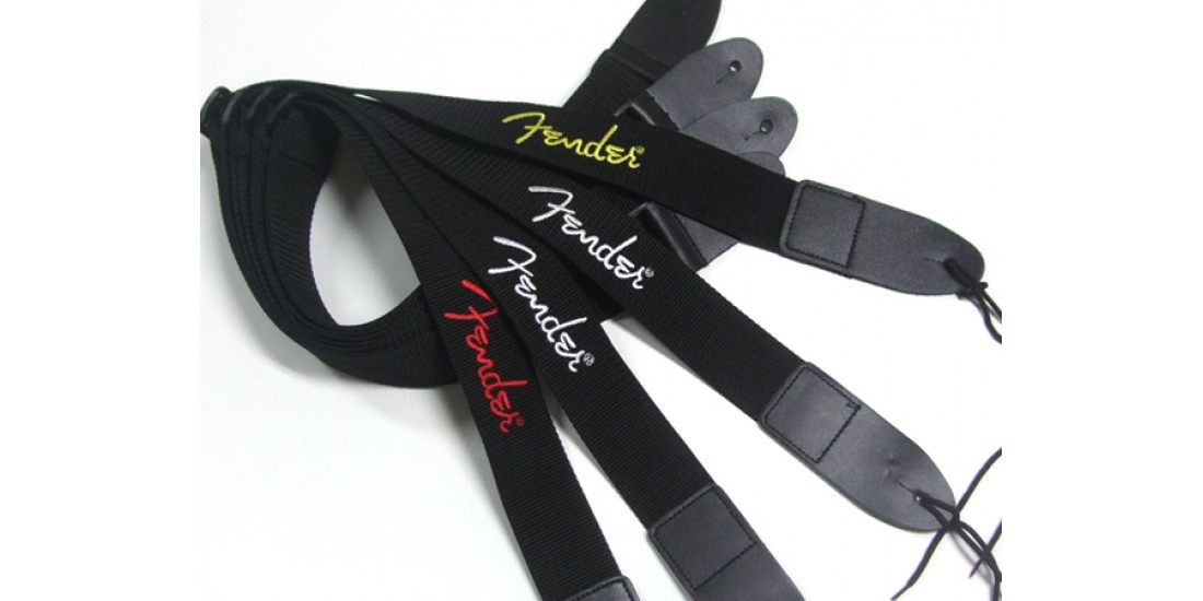Fender  2  Inch  Poly  Black  with  White  Embroidered  Logo  Guitar  Strap