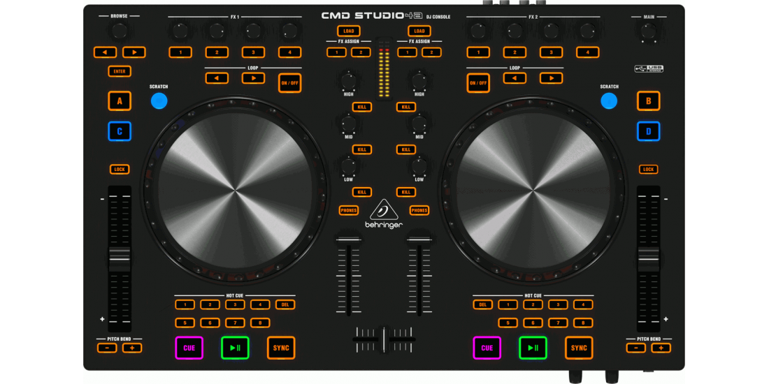 4-Deck  DJ  MIDI  Controller  with  4-Channel  Audio  Interface
