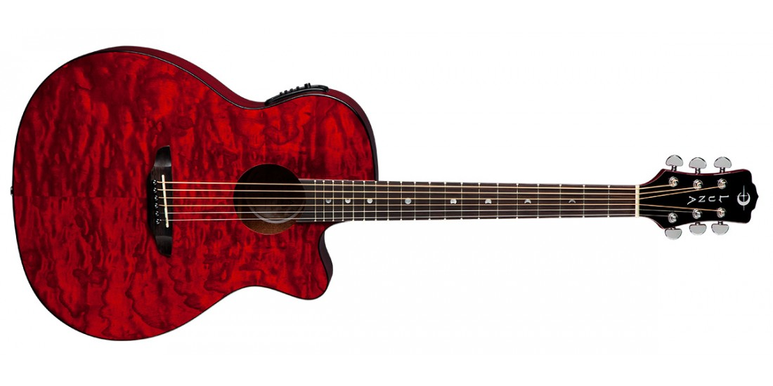 Luna Gypsy Quilt Ash Trans Red Acoustic/Electric Guitar (B-STOCK)