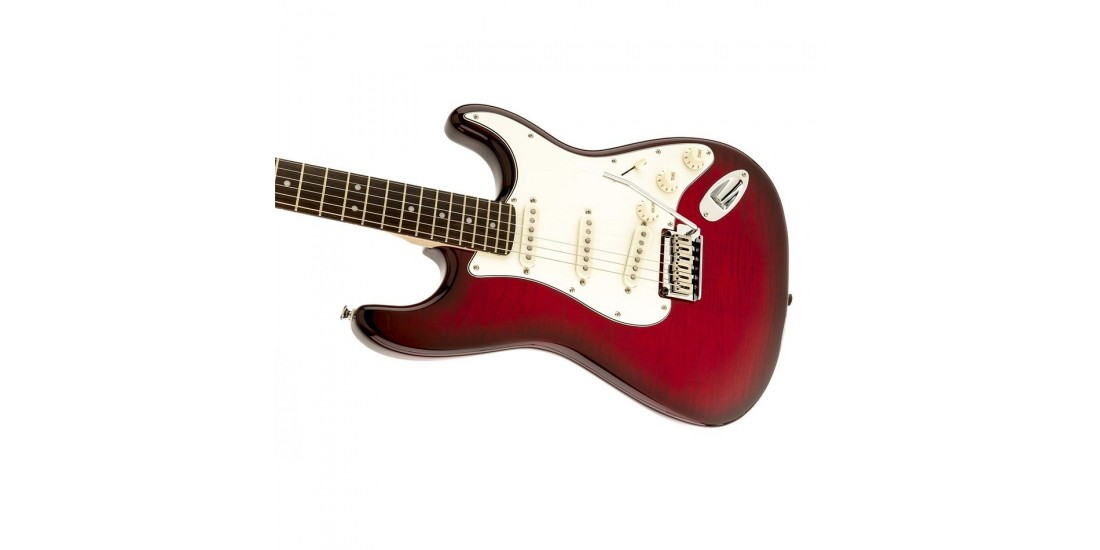 Fender Squier Stratocaster Flamed Maple Top Cherry Red Trans