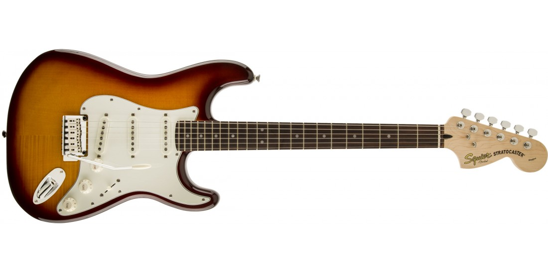 Fender Squier Stratocaster Flamed Maple Top Amber Burst