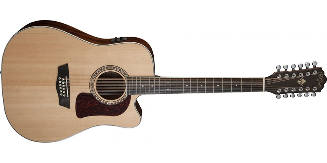 Washburn HD10SCE12 Heritage Series 12 String Dreadnought Cutaway Electric Guitar Solid Stika Spruce Top with Mahogany Back-Sides Natural
