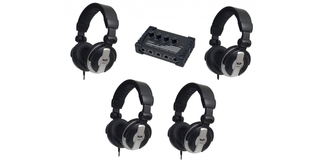 CAD Audio HP110 - Bundle Four MH110 Studio Headphones and One HA4 Stereo Headphone Amplifier