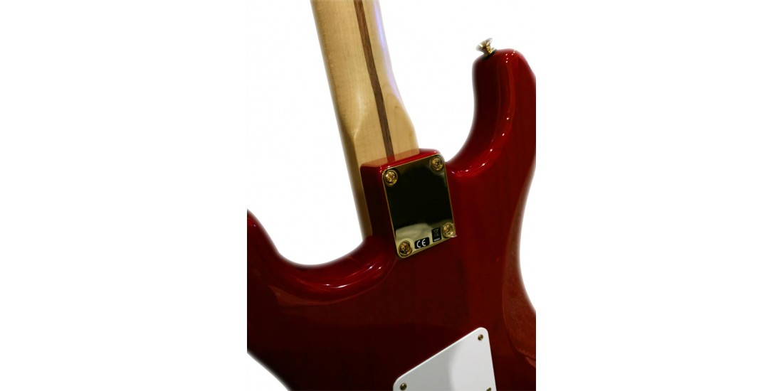 Fender Deluxe Player Stratocaster Maple Neck Crimson Red Transparent