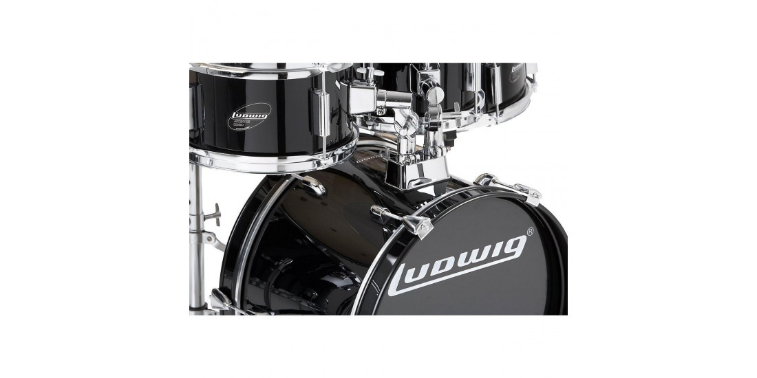 Ludwig LJR1061 Junior Outfit 5 Piece Drum Set with Cymbals (Black)