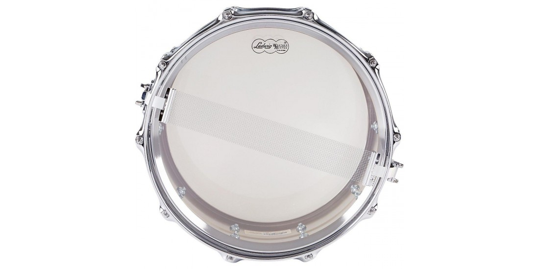 Ludwig LM402 Smooth Chrome Plated Aluminum 6.5 x 14 Inches Snare Drum with Imperial Lugs and Supra-Phonic Strainer