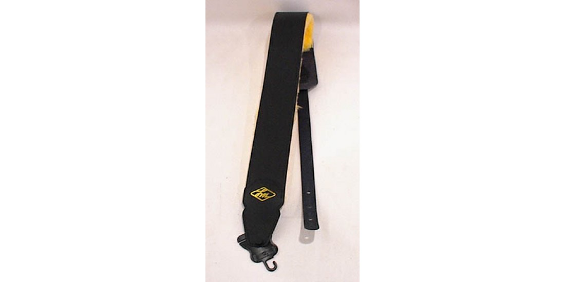 LM Ultra Comfort Leather Guitar Strap Black With Fleece Backing