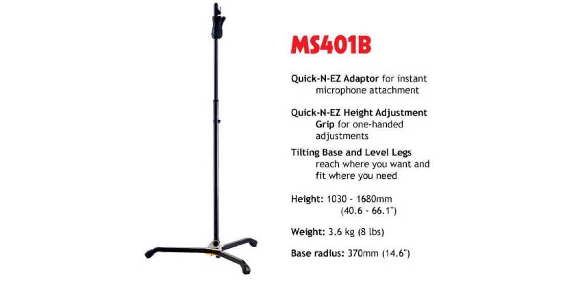 Hercules Mic Stand With EZ Height Adjustment And Tilting Base