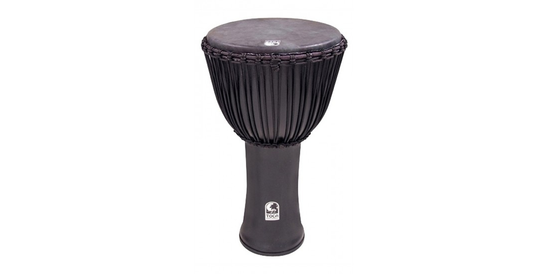 Toca Freestyle Series Djembe Rope Tuned 14 inch Black Mamba with Animal Skin Head