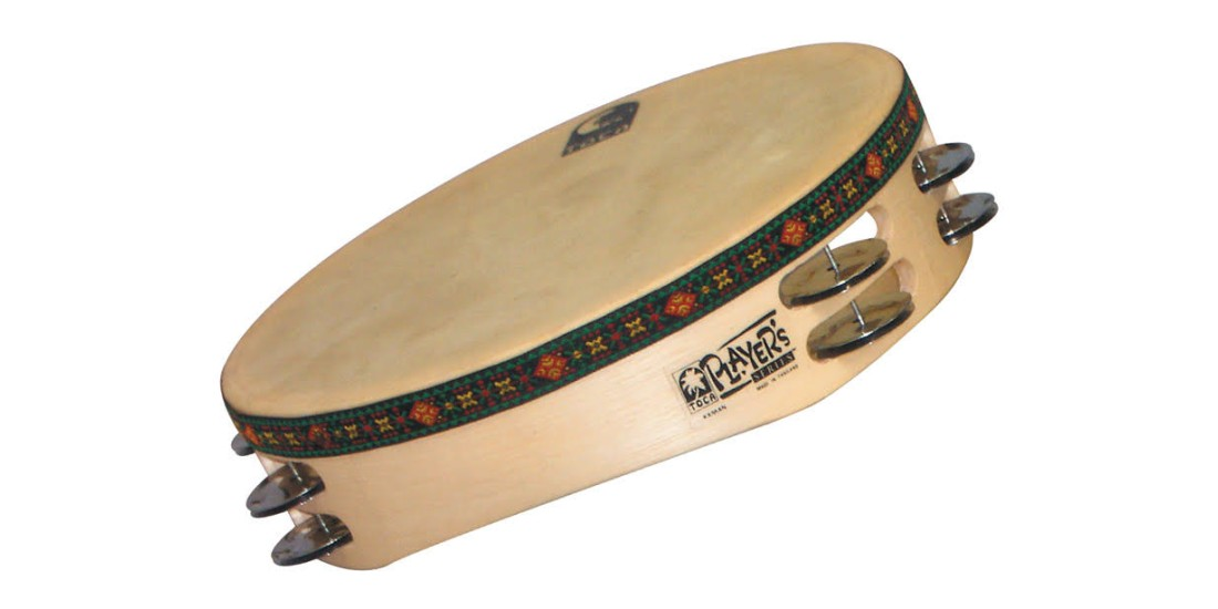 Toca Wooden Headed Tambourine Double Row Double Jingle
