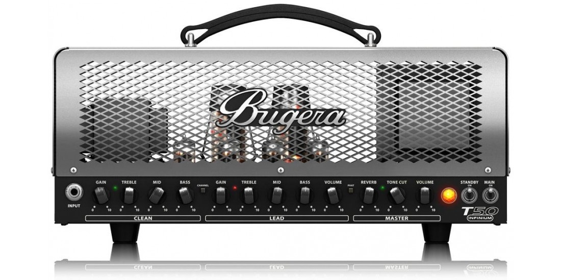 Bugera T50 Infinium 50-Watt Cage-Style 2 Channel Tube Amplifier Head Multi-Class A AB Operation and Reverb