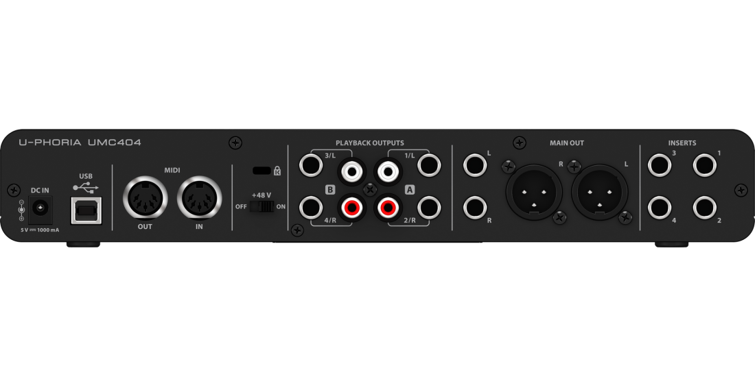Behringer U-Phoria UMC404HD Audiophile 4x4 USB Audio Midi Interface with Midas Mic Preamplifiers