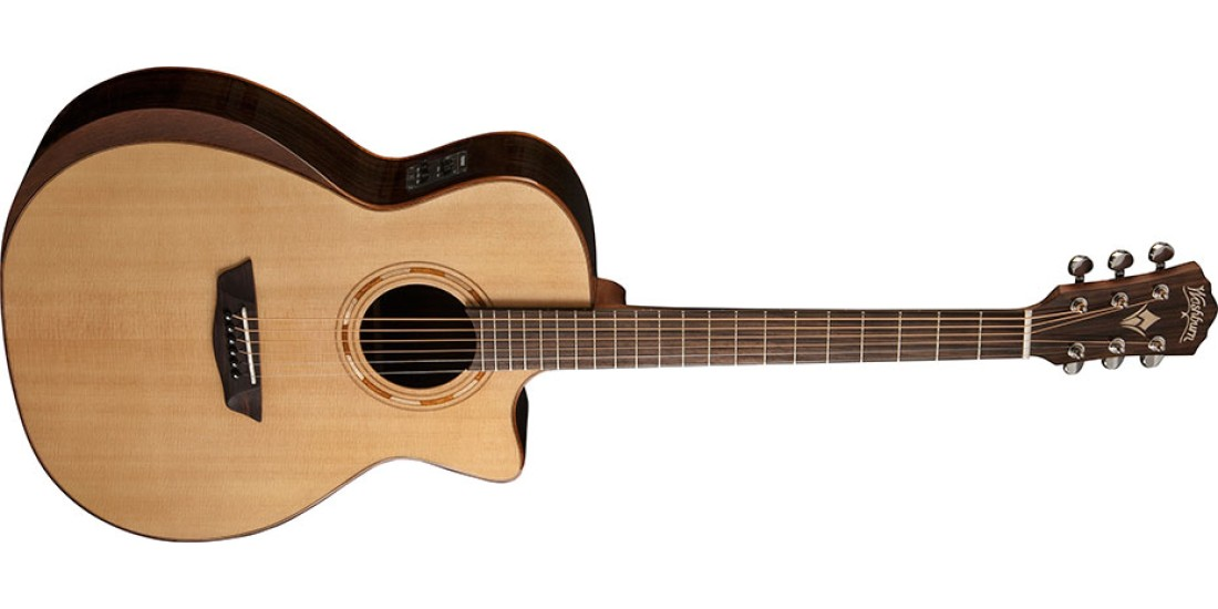Washburn WCG20SCE Grand Auditorium Cutaway Electric Select Solid Sitka Spruce Top with Rosewood Back-sides