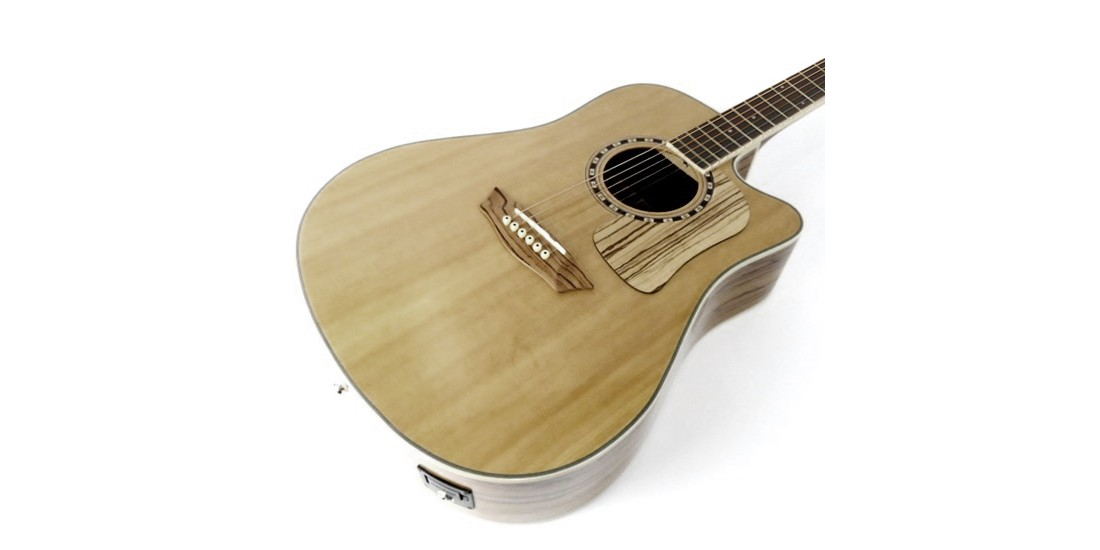 B Stock - Washburn WCSD32SCEK Solid Spruce Top Zebrawood Back Sides with Gig Bag
