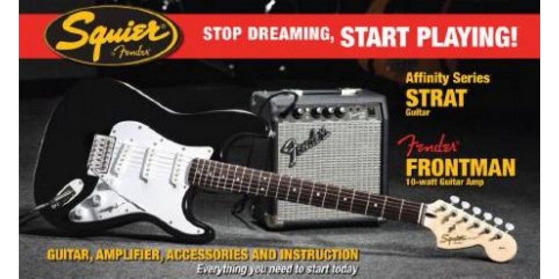 Fender Squier Affinity SSS Strat guitar Package Black
