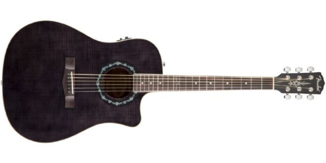 Fender T-Bucket Flamed Maple Top Acoustic Guitar Trans Black
