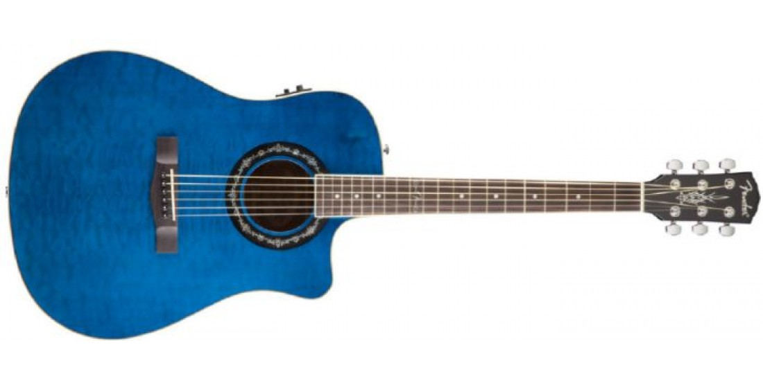 Fender T-Bucket Quilted Maple Top Acoustic Guitar Trans Blue