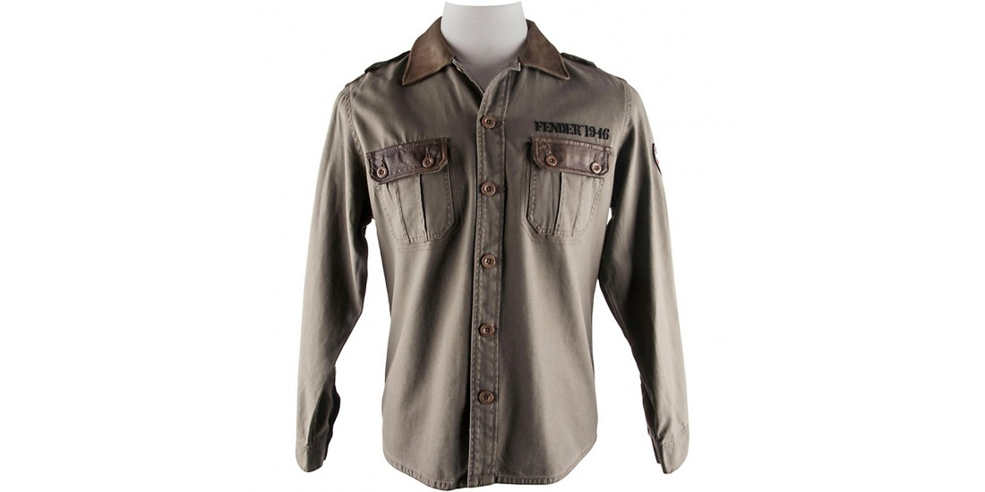 Fender Canvas Army Jacket / Shirt Leather Colar & Tabs -Small