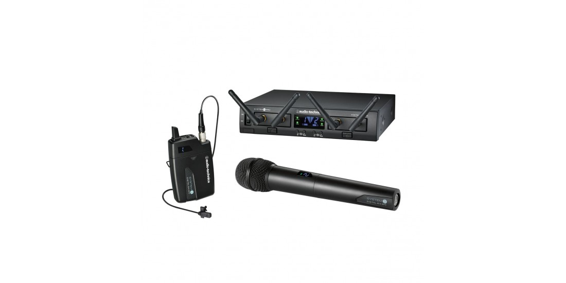 Audio Technica System 10 Pro Dual Digital Wireless System with Hand Held Mic and MT830cW Lavalier Microphone